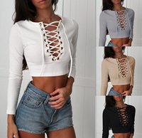 Wholesale Khaki Lace Long Sleeve Top - 4 Colors New Sexy Women T-shirts Top Lace-Up V-Neck Long Sleeve T Shirts Solid Plus Size Crop Top Shirts Girls Sexy Casual Summer Tee JC0481