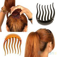 Wholesale Hair Insert Comb - Wholesale- Bump It Up Volume Inserts Hair Clip For Ponytail Bouffant Styles Hair Comb 8FV2