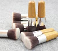 Wholesale flat head makeup brush for sale - Group buy burst flat head brush bamboo bottom brush round multi functional single use brush makeup beauty tools