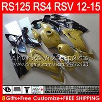 aprilia rs 125 gold großhandel-Einspritzung für Aprilia RS4 RSV125 RS125 12 13 14 15 RS125R 12-15 RS-125 Gold schwarz 72NO22 RS125RR RSV 125 RS 125 2012 2013 2014 2015 Verkleidung