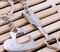"""Wholesale Plastic Fork Set - Free Shipping 100pairs lot=200pcs stainless steel """"capture your heart"""" key chain sets key ring favors wedding gifts for guest"""