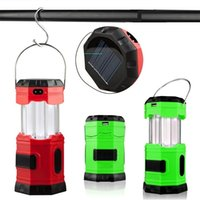 Wholesale Solar Survival - Solar Rechargeable Collapsible LED Camping Lantern light Portable Water resistant Outdoor Survival Lamp for Hiking Fishing Emergency Outage
