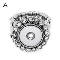 anéis de direção venda por atacado-Whloesale anel ajustável fit 12mm snap botões moda feminina jóias de cristal anéis de flores direção