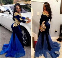 Wholesale Gold Royal Blue Dresses - New Elegant Long Sleeves Prom Dresses Evening Wear 2017 Royal Blue Velvet Gold Lace ruched organza Floor Length Mermaid Formal Gowns