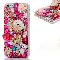 Wholesale Iphone 3d Case Crystal Diamond - Luxury 3D Handmade Bling Shiny Diamond Rhinestone Crystal Camellia Flower with Crown Lips Lipstick Hard PC Cover for Iphone 6 7 8 plus
