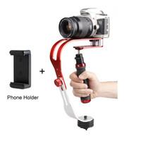 dslr el sabitleyici toptan satış-Toptan-Alaşım Alüminyum Mini El Dijital Kamera Sabitleyici Video Steadicam Cep DSLR 5DII Hareket DV Steadycam + Smartphone Kelepçe