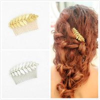 Wholesale Wholesale Wedding Hair Pieces - Hot Classic Wedding Bridal Leaf Hair Comb Silver Gold Plated Bridal Hair Accessories Bridal Head Pieces