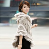 Wholesale Hooded Genuine Rabbit Fur Coat - Free shipping women rabbit fur coat jacket Knitted Genuine rabbit Fur poncho Shawl Wrap with hood Wholesale retail 2014 new