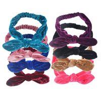 Wholesale headband accessories western online - 2017 Baby Girls Bunny Ears Headbands Cute Kids Girl Gold Velvet Hairbands Western Multi Color Children Hair Accessories