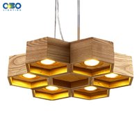 Wholesale Office Coffee Shop - Modern Wooden Honeycomb Shop Pendant Lamp Foyer Dining Room Bar Coffee House Meeting Room Lighting Indoor Free Shipping