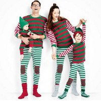 Wholesale Christmas Plus Size Outfits - Striped Family Matching Pajamas Set Christmas Plus Size Father Mother and Daughter Clothes Outfits Long Sleeve Pyjamas Clothing