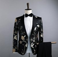 Wholesale Type Male Costumes - New type of cultivate one's morality men's single coat suit small floral suit the dress male singer costumes nightclubs S--XXL