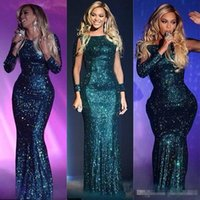 Wholesale Long Glittery Dresses - 2017 Hunter Green Beyonce Sheer Long Sleeves Evening Dresses Mermaid Glittery Sequined Long Celebrity Prom Party Gown For Arabic Women Cheap
