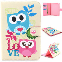 Wholesale Owl Tablet Cases - Love Pink Blue Owls Design Pu Leather Flip Stand Folio Card Holder Pouch Cover Case For Apple iPad Mini 4 Mini4 Tablet Protective Shell