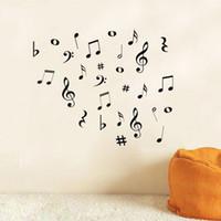 autocollants de notes de musique achat en gros de-Vente en gros- BRICOLAGE MUSIQUE Musical NOTES Variété Pack Stickers Muraux Vinyle Décoration Decal Art Salon Chambre Salle de Bain Home Decor Mural