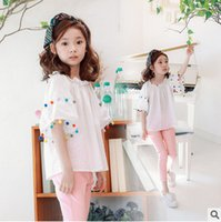 Wholesale Solid Colorful Shirt - Girls T-shirt colorful pompon tassel lace flare sleeve princess tops for children falbala collar blouses summer new kids cotton clothesT2749