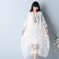 Wholesale womens vintage summer dresses - 2017 Womens Dresses Half Sleeve Plus Size Chiffon Floral Lace Dress Loose Waist Vintage Dresses Casual Loose thin A-Line Dress