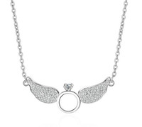 Wholesale Clavicle Ring - Fashion 925 Silver rhodium plated Angel wings rings zirconia pendant necklace charm clavicle necklace valentines gift