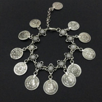 Wholesale Belly Dancing Dance Sandals - Bohemian Belly Dance Boho Turkish Silver Antalya Coin Anklet Bracelet Gypsy Foot Sandal Beach Ankle Chain 1 Pc