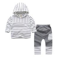 Wholesale baby zebra pants - New Kids Clothes Sets Baby Kids Stripe Hoodies+Pants Set Leisure Clothes 2 Colors 5 S L