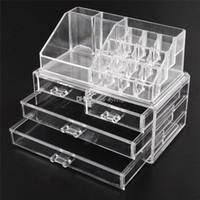 Wholesale Drawer Organizer Acrylic Box - Acrylic Cosmetic Makeup Organizer Jewelry Display Boxes Bathroom Storage Case 2 Pieces Set W  4 Large Drawers