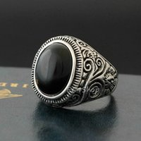 Wholesale banded onyx - New Men's Vintage Large Natural Oval Genuine Black Onyx Gemstone Floral Vine 316L Stainless Steel Ring