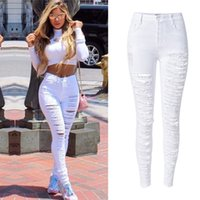 Wholesale Patchwork Womens Denim Jeans - Wholesale- Plus size 44 Sexy Womens High Waist Skinny Ripped Slim Fit Cut Hole Denim Jeans White black Stretchy Denim Pencil Pants JEANS