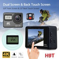 Wholesale waterproof camera lens resale online - 2 Touch Screen K Action Camera Dual Screen H9T with remote control K fps WiFi HDMI P Waterproof Degree Lens Sports Camera