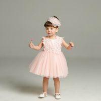 Wholesale Newborn Christening Gowns - Retail 2016 New Newborn Baby Girls Princess Dress Birthday Party Formal Christening Gown Lace Dress for 0-24 Months 1782