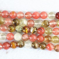 Wholesale Red Tourmaline Jewelry - Beautiful watermelon tourmaline multicolor jasper 4mm 6mm 8mm 10mm 12mm 14mm round jade diy jewelry loose beads 15 inch