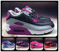 Cojines Rojos Púrpura Baratos-2018 Cheap Maxes Cushion Negro / Oro GS Running Shoes Mujeres 90 Zapatillas respirables Femenino Ultra Athletic Sports Trainers Rosa / Púrpura / Rojo
