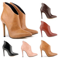 Wholesale Ladies High Heel Working Shoes - Chaussure Femme Womens Pointed Toe Faux Leather High Stiletto Heel Platform Ankle Boots Ladies Shoes Women US Size 4-11 D0051