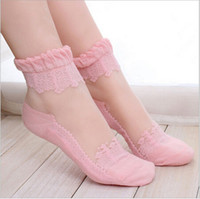 Wholesale Elastic Ruffle Trim - Wholesale-1Pair Women Lace Ruffle Ankle Sock Soft Comfy Sheer Silk Cotton Elastic Mesh Knit Frill Trim Transparent Ankle Socks