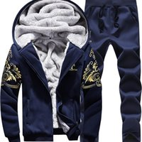 Wholesale Camouflage Jacket Hoody - New Winter Mens Sweat Suits Brand Mens Tracksuit Sets Fleece Zipper Hooded Jacket + Pants Sporting Suit Camouflage Sleeve Hoody Size M-5XL