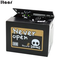 Wholesale Unique Coin Banks - Wholesale-New Creative Unique Stealing Money Skull Skeleton Statue Coin Saving Box Money Bank For Children Gift