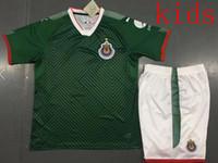 Wholesale Sleeveless Boys Vests - New 17-18 kids Chivas de Guadalajara Sleeveless Red and blue soccer training vest Soccer jersey 2018 Mexico Club 2017 Correct version Shirts