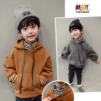 Wholesale Boys 5t Sweater - Can Custom Children's clothing hooded sweater 2017 winter new children plus velvet head spring and autumn warm clothes