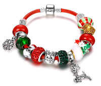 Wholesale Leather Bracelet Manufacturers - Christmas style Leather DIY Cherry Red Beads Bracelet Manufacturers selling Fashion Bracelets Jewelry Gift for women Wholesale 6pcs