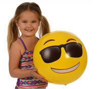 """Wholesale Family Recreation - Balls Kids Inflatable Emoji Beach Ball For Adults PVC 12"""" Family Holiday Summer Party Favors Swimming Pool Toys DHL Free Shipping"""