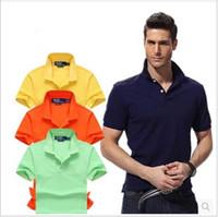 Wholesale Men Polo Shirts Clothes Wholesale - Polo Shirt Men 2017 Brand Clothing Solid Color Polo Shirt Cotton Short Sleeve Poloshirt Men Top Small Horse Embroidery summer Hot Sale