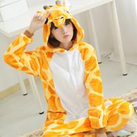 Wholesale Cartoon Onesies - Unicorn Stitch Giraffe Unisex Flannel Pajamas Adults Cosplay Cartoon Animal Onesies Sleepwear Hoodie For Women Men