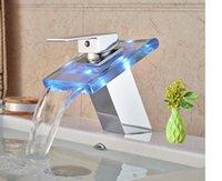 Wholesale Unique Bathroom Sinks - Unique Design Bathroom Lavatory Sink Faucet LED Waterfall Spout Deck Mount Chrome Finish