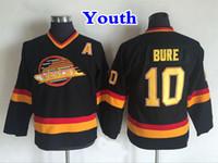 çocuklar yama gömlek toptan satış-Gençlik Vancouver Canucks Hockey Jersey 10 Pavel Bure Gömlek Vintage CCM Ev Siyah Çocuklar Pavel Bure Dikişli Formalar Bir Yama