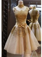 Wholesale Satin Tight Knee Length Dresses - In 2016, the latest champagne tight strapless lace with satin evening dress knee-length skirt BY DJ