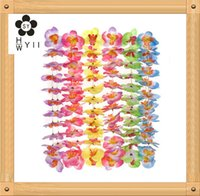 Wholesale Wholesale Green Lei - Hawaiian butterfly flower lei. 4-6 assorted styles: pink, yellow, green, blue, pink and purple, and purple. 36 inches