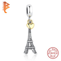 Wholesale Necklaces Paris Tower - BELAWANG PARIS EIFFEL TOWER Charm Pendant 925 Sterling Silver Gold Heart Beads Fit Pandora Bracelets Necklaces Jewelry For Valentine's Day