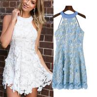 Wholesale Elegant Laces - Elegant White Light Blue Halter Sexy Backless Dresses Boho Sleeveless Crochet Lace Dress