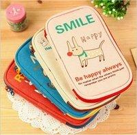 Wholesale Big Cotton Pouch - Wholesale- New happy animal big Pencil bag Cosmetic case Storage pouch  cotton handbag  purse No.0147