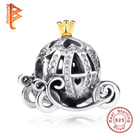 Wholesale Car Charms For Bracelet - BELAWANG Summer Gift Fit Original Pandora Charm Bracelets Pumpkin Car Charms 100% 925 Sterling Silver CZ Beads For Fashoin Jewelry Making