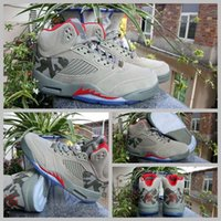 Wholesale Room Culture - 2017 BAPES X trophy room X Air Retro 5 136027-051 Camo Men Basketball Shoes Sports Rrey Red Retros 5s Sneakers Size 8-13